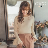 東京著衣【YOCO】浪漫名媛珍珠喇叭百褶袖針織長袖上衣-S.M.L(172698)