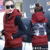 新款棉馬甲女短款冬季百搭背心羽絨棉衣休閒連帽坎肩馬夾春秋外套
