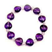 紫玉與紫水晶心彈性手環