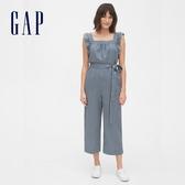 Gap女裝 清爽條紋荷葉邊連身褲 583008-藍色條紋