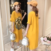 洋裝 大碼韓版t恤裙夏季女裝新款2019卡通3D印花短袖寬鬆顯