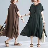 批發2千免運大碼女裝洋氣大碼連身裙3632微胖MM文藝寬松顯瘦長款系帶裙子ZL712-B朵維思