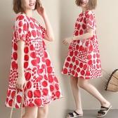 洋裝 連身裙文藝寬鬆中大尺碼波點印花短袖連衣裙減齡洋氣舒適碎花打底裙