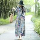 洋裝 春秋裝新款復古民族風大碼寬鬆棉麻印花長袖洋裝女文藝亞麻長裙-Ballet朵朵