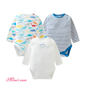 Moms care棉感長袖三角包屁衣 三件組 藍色恐龍 連身衣 嬰兒裝