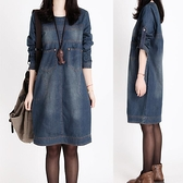牛仔洋裝 春秋新款大碼寬鬆長袖胖mm牛仔連身裙設計感小眾復古洋氣減齡裙子 薇薇