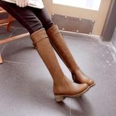 長靴 女單靴英倫風秋冬新款粗跟平底加絨高筒騎士靴    汪喵百貨
