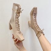 馬丁靴 網紗鏤空瘦瘦靴子馬丁靴女夏季薄款2021新款百搭高跟細跟短靴網靴 美物