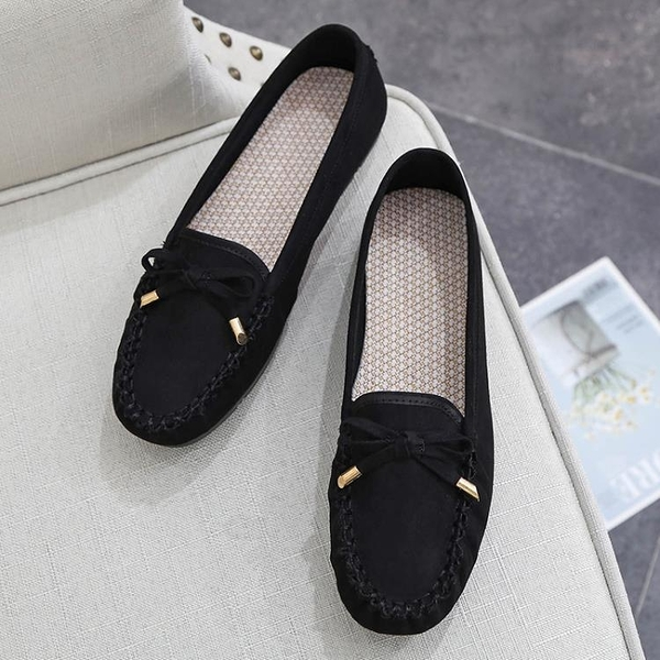 布鞋女軟底舒適黑色工作平底單鞋媽媽年秋季新款豆豆鞋【618優惠】