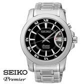 《買就贈G-SHOCK》SEIKO Premier 黑面羅馬字萬年曆鋼帶男錶 42mm SNQ141J1 6A32-00X0D 公司貨