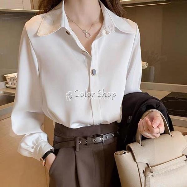 襯衫女士春裝款女設計感小眾雪紡早春輕熟上衣白色職業裝襯衣 快速出貨