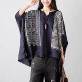 復古文藝亞麻蝙蝠袖寬鬆T恤印花棉麻上衣女