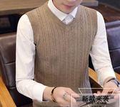 毛衣背心男針織馬甲韓版學院風無袖毛線衫青少年學生修身保暖坎肩 草莓妞妞