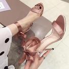 韓版新款超高跟細跟一字帶涼鞋女 宴會女鞋 夜店舞臺表演高跟鞋