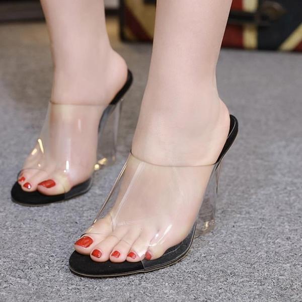 楔型鞋 沙灘鞋 速賣通 歐美性感透明水晶坡跟涼拖鞋女