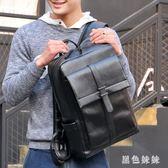 潮流時尚休閒青年雙肩包男士背包日韓版大容量黑色PU皮書包男 qf7562【黑色妹妹】