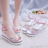 韓版春夏季新款坡跟魚嘴鞋羅馬涼鞋女鬆糕厚底學生鞋高跟鞋子   潮流前線