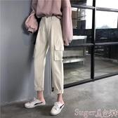 工裝褲cargo工裝褲女春秋2020新款韓版學生顯瘦高腰寬鬆bf直筒白色褲子 交換禮物