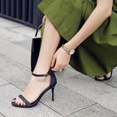 女高跟涼鞋 韓版女鞋子 真皮超纖網紅時尚夏季新款一字帶扣高跟鞋包跟細跟涼鞋《小師妹》sm4257