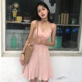 小性感V領交叉顯瘦修身連身裙