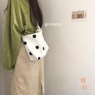 韓系可愛波點百搭側背斜背帆布包購物袋手提女【橘社小鎮】