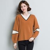 羊毛針織衫-V領撞色色塊寬鬆時尚女毛衣3色73uj12【巴黎精品】