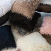 網紅長毛絨靠枕簡約沙發靠墊可愛腰墊純色【繁星小鎮】