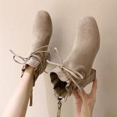 短靴女2019新款秋季百搭馬丁靴粗跟高跟鞋秋款秋冬加絨女鞋女靴子