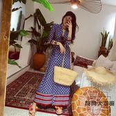 藍色V領彈力修身度假一片式連身裙和風長裙【時尚大衣櫥】