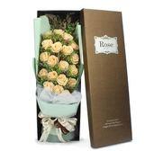 滿天星仿真乾花大花束永生紅玫瑰花禮盒-19朵香檳色
