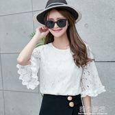 夏季韓版荷葉袖雪紡衫女圓領短袖T恤白色蕾絲打底衫喇叭袖上衣潮  莉卡嚴選