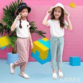 女童套裝夏短袖運動休閒防蚊兒童裝小孩衣服寶寶棉麻兩件套 JY251【大尺碼女王】