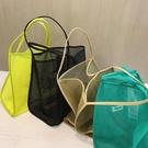 購物包 2021新款風透明網紗單肩挎包時尚輕便百搭購物袋沙灘包【快速出貨八折鉅惠】
