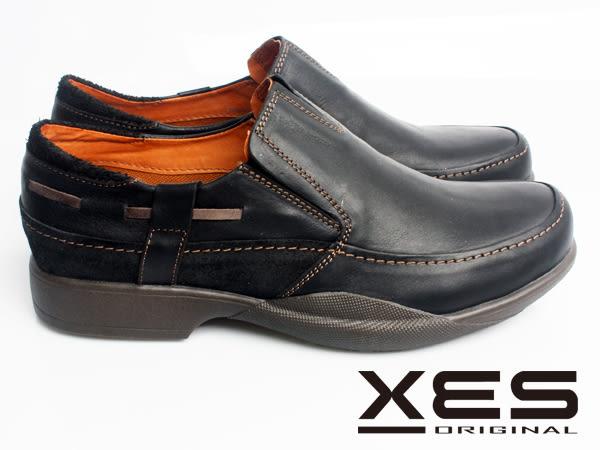 XES 男鞋 生活休閒 雅痞型男 亮皮SLIP-ON圓頭休閒鞋 百搭黑