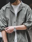 襯衫洋裝 馬登工裝美式古巴領長袖襯衫日系疊穿古著寬松桃皮絨V領襯衣男寸 印巷家居