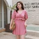 2021新款連體泳衣女顯瘦遮肚韓國ins仙女范保守大碼胖mm200斤泳裝 蘿莉新品