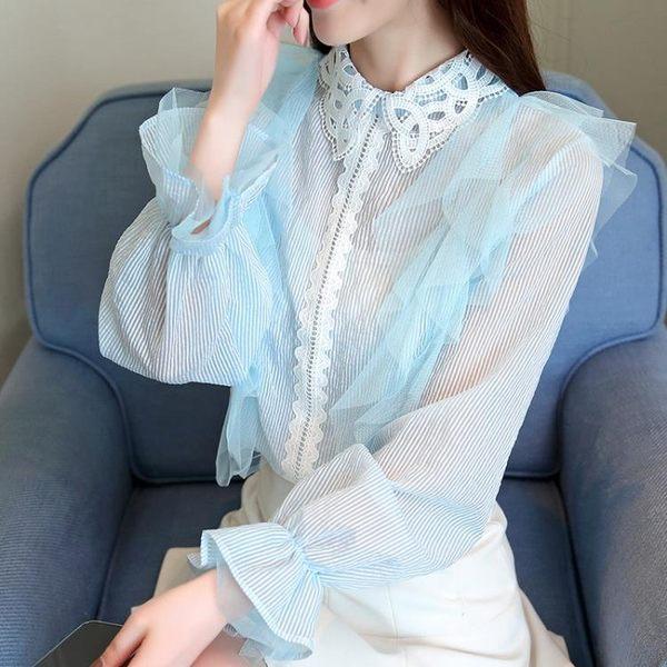 3068新款潮娃娃衫蕾絲上衣服超仙甜美洋氣襯衫雪紡衫女GD-4F-462-B朵維思