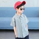 男童襯衫男童襯衫21夏裝新款兒童短袖翻領上衣洋氣中大童格子襯衣潮 快速出貨