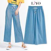 褲子-LIYO理優-鬆緊顯瘦休閒直筒長腿單寧寬褲E831001