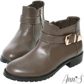 Ann'S秋冬基本款-份量金釦帶超短筒平底短靴-咖啡
