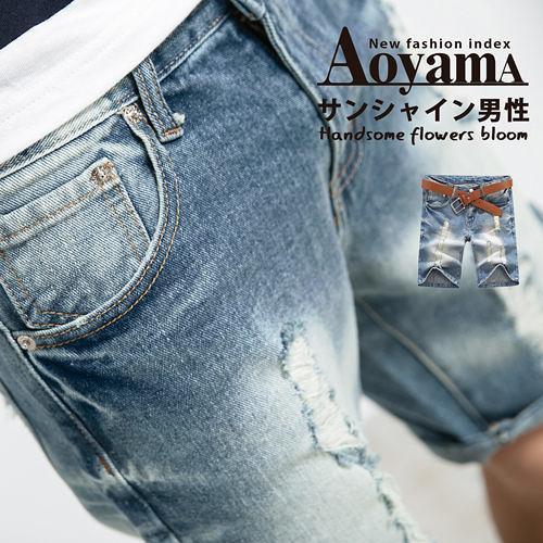 牛仔短褲【P1016】俐落刷色破壞感百搭單寧牛仔短褲