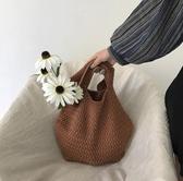 韓國可愛少女休閒時尚手提包潮寬鬆舒適軟編織學生毛線包包女   極有家
