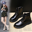 馬丁靴 白色秋季女小短靴英倫風潮酷短筒新款春秋單靴子 - 古梵希