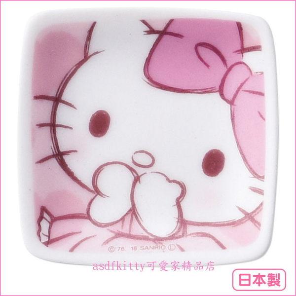 asdfkitty☆日本金正陶器KITTY陶瓷迷你碟/湯匙架/點心皿/小方盤-也可當筷架-裝少量醬.胡椒鹽-日製