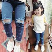女童裝破洞休閒兒童男童牛仔褲女寶寶夏季薄款褲子1-2-3-4歲   伊鞋本鋪