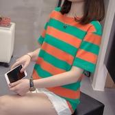 大尺碼女裝新款夏裝短袖t恤胖妹妹半袖條紋洋氣寬鬆遮肚打底衫
