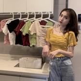 2020年新款女夏法式方領短袖針織衫風修身bm短款上衣配高腰褲