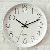 鐘錶掛鐘客廳現代簡約大氣創意時尚圓形臥室靜音電池牆貼石英鐘WD   電購3C