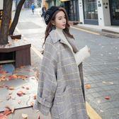 毛呢外套 韓版 Chic格子寬鬆中長款長大衣 花漾小姐【預購】