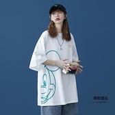 短袖T恤女夏季卡通五分中袖設計感小眾寬鬆百搭半袖【聚物優品】